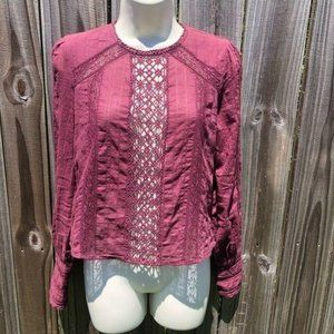 Free People Button Back Lace Blouse XS